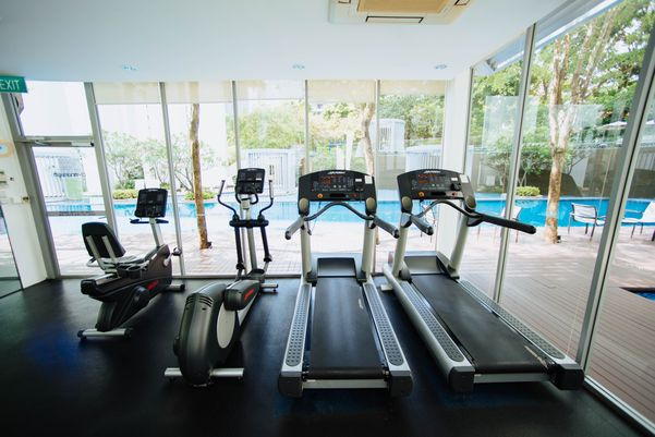 Fitness gym as the facility for a healthy accommodation in Bali